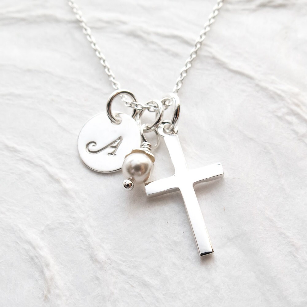 birthstone communion studiosimplejewelry shop necklace new first sterling on etsy for goddaughter savings personalized name silver gift cross girl