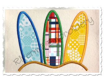 Three Surfboards Machine Embroidery Design - 4 Sizes