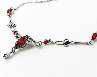 Victorian Necklace gothic jewelry Victorian Jewelry Red Swarovski Necklace Silver art deco Necklace elegant romantic aranwen