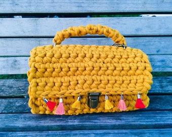 Mustard Crossbody Bag/crochet bag/tassels/handmade bag/handbag/knit bag/tshirt yarn/yellow bag/women bag/crochet/bag/gift/