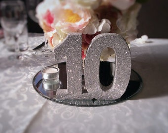 Luxury wedding table numbers Set of 15 silver Wedding reception table decorations Freestanding wooden luxury wedding table number