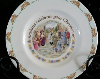 A Bunnykins Christening plate by Wedgwood & Bunnykins plate | Etsy