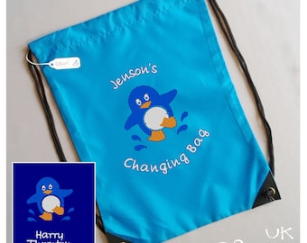 Embroidered Drawstring Bag - Personalised Penguin. Perfect for swimming, wellies,  toys, nursery, day trips, changing bag and anytime bag!