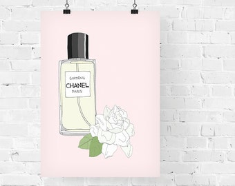 Chanel Gardenia Perfume Fashion Illustration Art Print