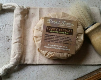 Shave Set. Natural shave soap with boar bristle brush in a natural fiber sack. Gift for him. Stocking stuffer. Manly gift.