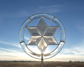 Beveled Glass Encircled Star Tree Topper, Deputy Sheriff, Marshal, Police Badge Christmas Tree Topper