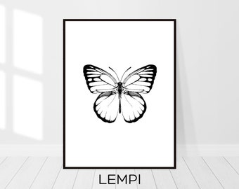 Butterfly Print, Butterfly Art, Black and White, Sketch Art, Animal Print, Minimalist Print, Nature Print, Modern Wall Art, Digital Download