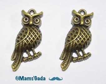 Set of 4 pattern charm/pendant/charms/OWL bronze REF:B / 09
