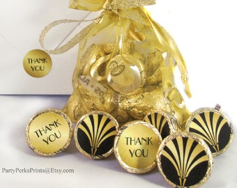 Great Gatsby Wedding, Art Deco Bridal Shower Favors, Black and Gold Candy Stickers