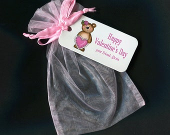 Valentine Bags - Valentine Favor Bags - Candy Bags - Personalized Bags - Gift Bags - Organza Bags - Pink