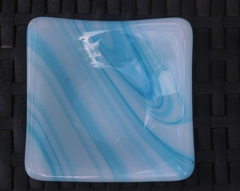 Trinket dish (turquoise/white swirl)