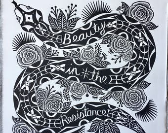 Beauty in the Resistance / Snake / Hand Carved / Linocut / Art Print / Block Print / Black