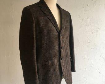 Men's brown & black jacket * Vintage 1960s Harris Tweed sport coat * 60s wool tweed jacket