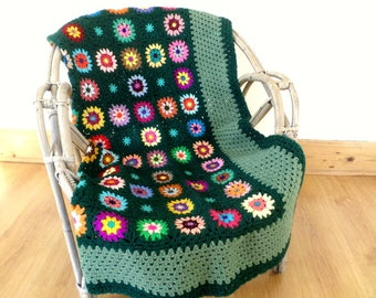 Vintage green and multicolor granny crochet blanket wool