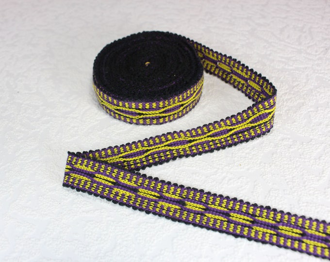Woven Trim (6 yards), Woven Border, Cotton Ribbon, Grosgrain Ribbon, Dress Border, Border Trim, R282