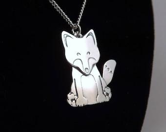 Fox Pendant, Silver Fox Necklace, Fox Jewellery, Silver Fox Jewellery, Silver Fox Pendant, Wildlife, Nature, Animal, Silver Fox, Cute Fox