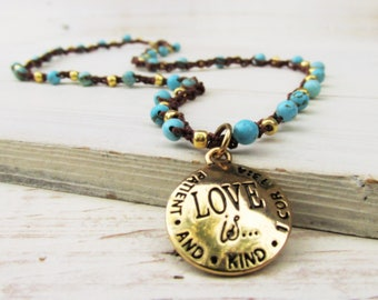 Love Is Boho Crochet Necklace ~ Christian Necklace ~ 1st Corinthians ~ 18 Inch Necklace ~ Baptism, Confirmation, Anniversary Gift for Her