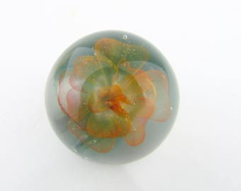 Peach Flower Glass Marble, Boro, Lampwork, Borosilicate Collectible Marble, Forever Flower, Heady Glass, Gold Fumed Implosion Glass Marble