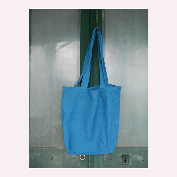 FLAX Engelhart Long Tote Bag - Ocean Blue Linen