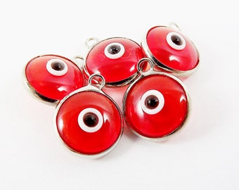 5 Translucent Poppy Red Evil Eye Nazar Artisan Glass Bead Charms - Silver Plated Brass Bezel