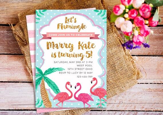 Flamingo birthday invitation flamingo birthday party invites stopboris Gallery