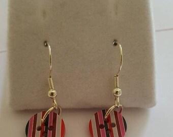 Stripe Button Dangle Earrings, Button Jewellery