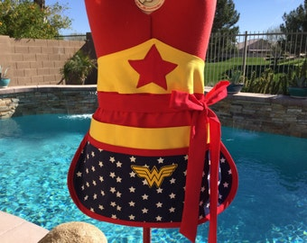 Sassy Wonder Woman Inspired Half Apron, 6 pockets, Utility, Crafts, Gardening, Money Pocket with Velcro Tab, Teacher's Gifts, Comicon