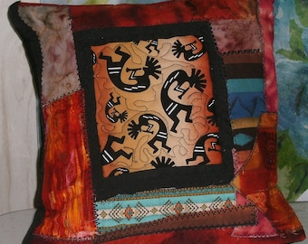 quilted crazy quilt southwestern pillow cover