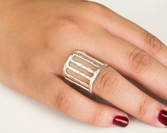 Hammered Sterling Silver Cage Ring