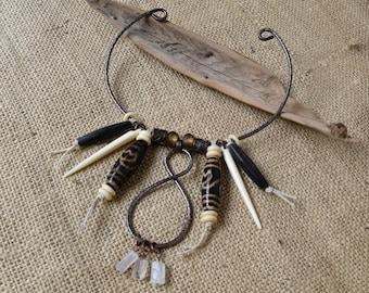 Choker Necklace, Neck Cuff. Tibetan Dzi, Bone, Raw Crystals.  Boho, Tribal, Unique