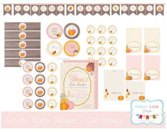Autumn Baby Shower/Sprinkle Party Printable Package - Girl
