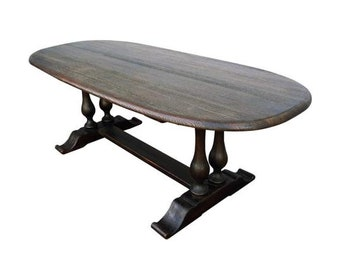 Massive Antique Dutch English Trestle Dining Table