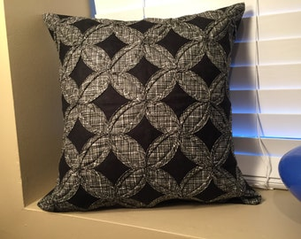 Black/White Crosshatch Quilted Throw Pillow Cover