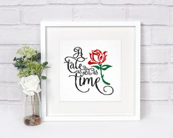 Beauty and the Beast cross stitch pattern Enchanted rose Tale as old as time Belle Modern Easy Beginner Typography Instant download PDF #247