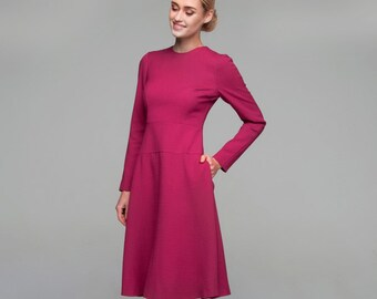 SALE 30%! Fuchsia office dress