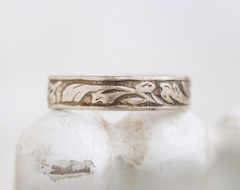 Art Nouveau Wedding Band Ring - Sterling Silver Dainty Ring - Size 6 - Vintage Oxidized Jewelry