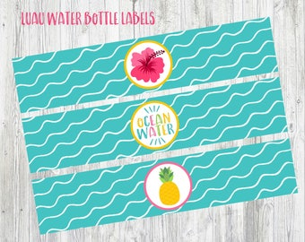 Printable Water Bottle Labels for Luau, Pool Party, Beach Party, Pineapple Party. Instant Digital Download. 3 designs.