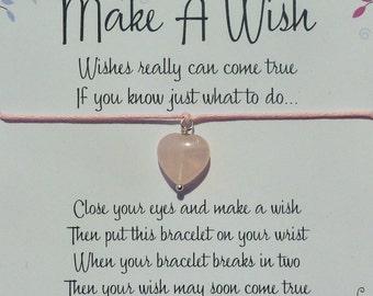 Wish Bracelet - Rose Quartz Heart / Gemstone Heart / Rose Quartz Bracelet / Fertility Bracelet / Healing Gift / Friendship / Wish Knots