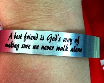 Best Friend Aluminum Cuff Bracelet