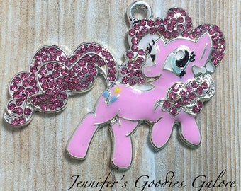 46*29MM, My Little Pony Inspired Rhinestone Pendant, Pinkie Pie, MLP Pendant, Chunky Necklace, Pony Pendant, My Little Pony Necklace