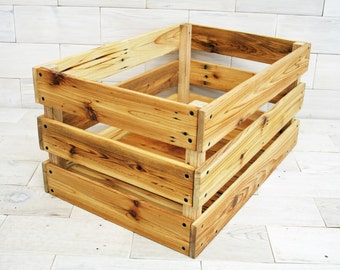 "Reclaimed Cedar Milk Crate 20"" x 12"" x 12"" . . . (aka rustic storage crate, farmhouse chic box, wooden fruit crates)"