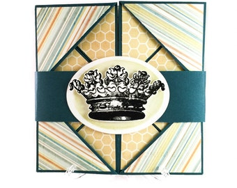 Crown folded greeting card