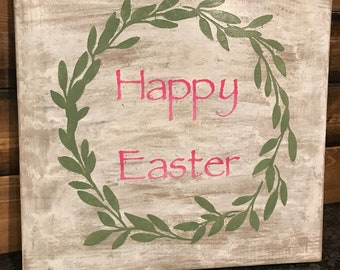 Happy Easter distressed wood sign