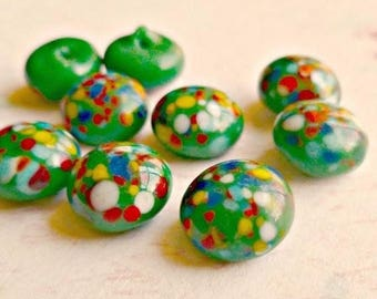 12 Vintage 9mm Japanese Green and Multi Color Spots Glass Cabochons (6-49-12)