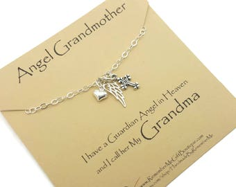 Memorial Necklace Grandmother, Memorial Jewelry Loss of Grandma, Memorial Gift, Sterling Silver Sympathy Gift, Angel Wing, Cross and Heart