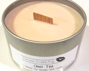 Chai Tea Natural Soy Wooden Wick Candle - 12 oz