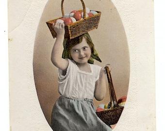 Easter Girl - Eggs in Basket - Easter Card - 1910s Antique Postcard - Carte Postale - Easter Drawing - Paper Ephemera - Used
