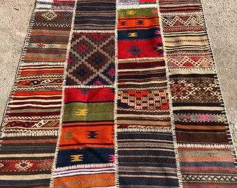 """50"""" x 76"""" Patchwork rug, vintage rug , decorative rug ,"""