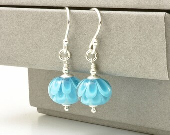 Sky Blue Earrings  | Handmade Lampwork Glass Earrings | Light Blue Flower Earrings | Petal Collection | Aqua Blue Jewellery | UK
