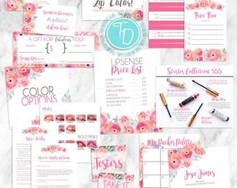 LipSense Branding Pack Printable, LipSense Floral Business Card Printable, LipSense Tips Card Printable, SeneGence Branding Pack Printable